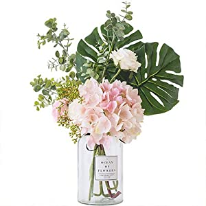 Ins Style Vase with Artificial Flower Set 1 Piece Fake Rose Berry Leaf Floral Flower Arrangement Glass Rose (L Pink) 2