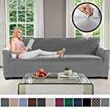 Gorilla Grip Original Velvet Fitted 1 Piece Oversized Sofa Slipcover, Stretch Up to 78', Soft Velvety Covers, Luxurious Couch Slip Cover, Spandex Sofas Furniture Protector, with Fasteners (Gray)