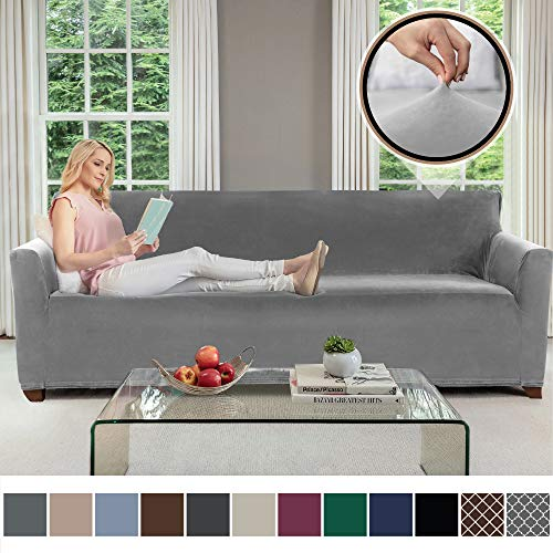 Gorilla Grip Original Velvet Fitted 1 Piece Oversized Sofa Slipcover, Stretch Up to 78 Inches, Soft Velvety Covers, Luxurious Couch Slip Cover, Spandex Sofas Furniture Protector, with Fasteners, - Covers Suede Soft Furniture