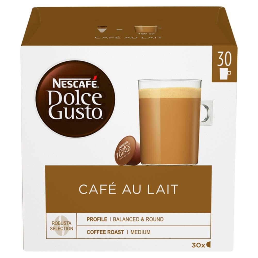 Nescafé Dolce Gusto Café Au Lait Coffee Pods (Pack of 3, Total 90 Capsules, 90 Servings)