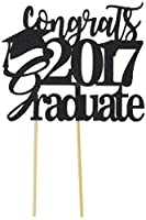 All About Details Black Congrats 2017 Graduate Cake Topper