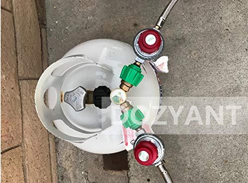 2 Way LP G Propane Tank Y Splitter Adapter with Gauge DOZYANT Propane Splitter