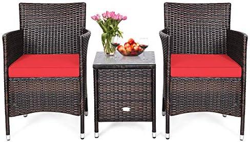 HAPPYGRILL 3-Piece Patio Furniture Set Outdoor Rattan Wicker Conversation Set