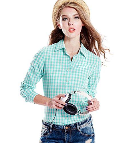 くしゃみブラシプレビューTortor 1bacha(JP) レディース シャツ チェック柄 長袖 綿100% チェックシャツ レディースシャツ ネルシャツ オフィス 通勤 通学 ビジネス ブラウス グリーン ホワイト
