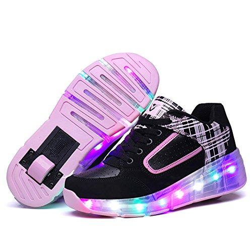 HUSK'SWARE Led Flashing Enfant Kinderschuhe Jungen Mädchen Roller Skate Schuhe Turnschuhe Mit Rollen Weihnachten Kinder Automatischen Wheels Sportschuhe Schuhe negro-rosado