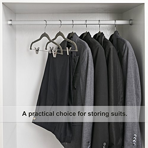 SONGMICS Hangers, 12-Pack Pant Hangers Velvet - No Slip Strong Enough Space Saving Metal Clips/Grooves/Hook Coat/Pants/Jacket, Gray UCRF12V - bedroomdesign.us