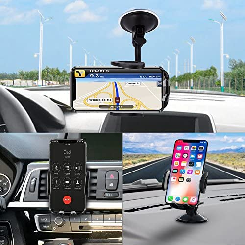 Phone Car Holder, Vansky 3-in-1 Universal Cell Phone Holder Car Air Vent Holder Dashboard Mount Windshield Mount for iPhone 12 11 X XR 7/7 Plus, Samsung Galaxy S9 LG Sony and More