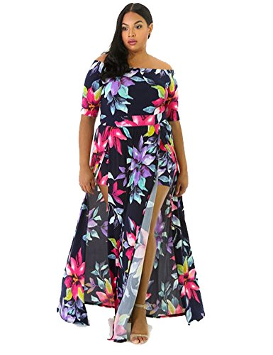 Women Plus Size Sexy Floral Print Off Shoulder Front Slit Long Romper Maxi Dress