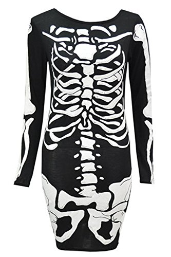 Crazy Girls Womens Ladies Halloween Skeleton Bones Print