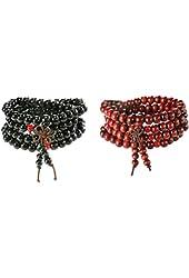 FUNRUN 2pcs Womens Mens 108 Buddhist Strand Bracelet Wood Prayer Beads 8mm Sandalwood,Chinese Knot