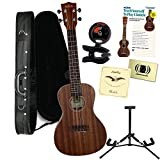 Kala KA-SMHC CONCERT SATIN/ALL SOLID MAHOGANY Ukulele Bundle with Polyfoam Case, Tuner, Alfred's Teach Yourself to Play Ukulele C-Tuning Edition with DVD, and Polishing Cloth, Extra Strings and Stand