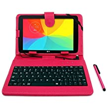 DURAGADGET LG G Pad II 8.0 Tablet Case - Deluxe QWERTY Keyboard Folio Case in Pink for NEW LG G Pad II 8.0 - with Micro USB Connection, Built-In Stand + BONUS Stylus!