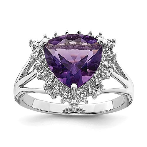 (Sterling Silver Rhodium Trillion Amethyst & Diamond Ring)