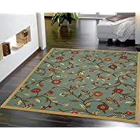 Ottomanson Collection Garden Design Modern Area Rug with Non-Skid Rubber Backing, 31 L x 49 W, Sage Green/Blue Floral