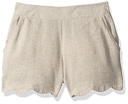Amy Byer Big Girls\' Scallop Hem Linen Short, Khaki, M