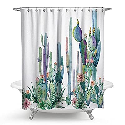sun blinkers Waterproof Shower Curtain Bathroom Bathclub Decoration Mildew Resistant Water Repellent Cactus - MEASUREMENT-175cm*180cm(69in*70in) Tested polyester fabric 100% environment friendly no chemical odors at all SUPERIOR QUALITY, DURABLE SHOWER CURTAIN-made by tested polyester fabric, which is made to withstand moisture-rich bathroom environments. ANTIBACTERIAL,WATER REPELLENT,MOLD & MILDEW RESISTANT. - shower-curtains, bathroom-linens, bathroom - 51hC jz7RLL. SS400  -