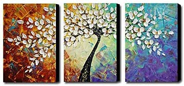Amoy Art- Hand Painted Knife Modern Canvas Wall Art Floral Oil Painting for Home Decor 12x16inch 3pcs Set Stretched and Framed Ready to Hang