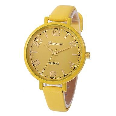 Bestow Reloj de Pulsera Analšgico de Cuarzo de Cuero Artificial para Mujer Reloj de Pulsera Analšgico para Mujer(Amarillo): Amazon.es: Ropa y accesorios