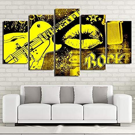 PUHAHA 5 Lienzo Cuadros Artes de la Pared Póster Guitarra Rock 150X100CM Pintura al óleo HD Creatividad Impresiones Moderna Decoración del Hogar Pinturas sobre Lona Modular
