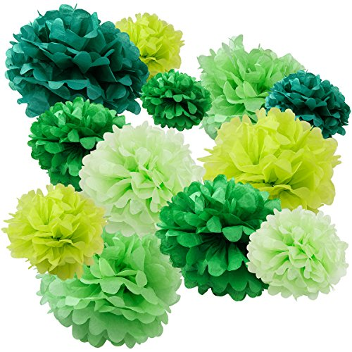 Floral Reef Variety Set of 12 (Assorted Green Color Pack) consisting of 8 10 12 14 16 Tissue Paper Pom Poms Flower
