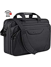 "18"" Laptop Bag Premium Laptop Briefcase Fits Up to 17.3 Inch Laptop Expandable Water-Repellent Shoulder Messenger Bag Computer Bag for Travel/Business/School/Men/Women-Black"