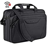 KROSER 18' Laptop Bag Premium Laptop Briefcase Fits Up to 17.3 Inch Laptop Expandable Water-Repellent Shoulder Messenger Bag Computer Bag for Travel/Business/School/Men/Women-Black