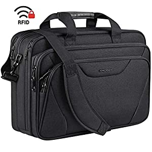KROSER 18″ Laptop Bag Premium Laptop Briefcase Fits Up to 17.3 Inch Laptop Expandable Water-Repellent Shoulder Messenger Bag Computer Bag for Travel/Business/School/Men/Women-Black