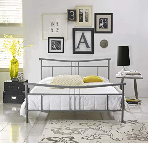 Boyd Sleep Maya Metal Platform Bed Frame/Mattress Foundation with Headboard and Footboard, Silver, Full