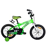 Tauki Kid Bike BMX Bikes for Boys 16 Inch with Training Wheels and Hand Brake, 95% Assembled, Green