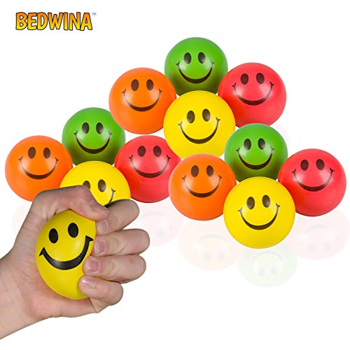 Squeezable Balls (Squeezable Smiley Face Stress Balls -Pack Of 12 ! Assorted Neon Colors, Squishy Squeeze Great Stress & Anxiety Reliever, Party Favor, By: Bedwina)
