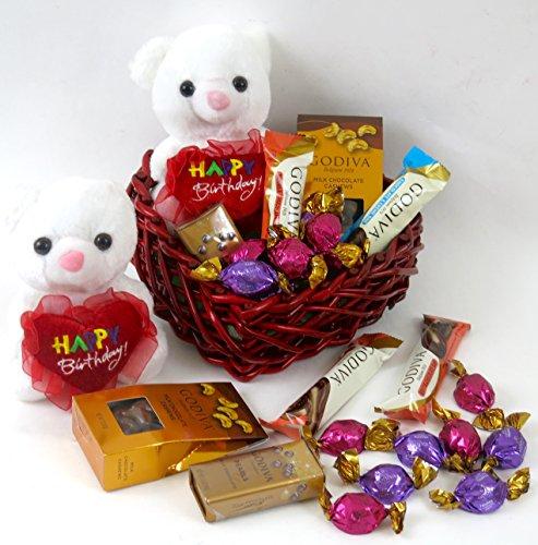 Birthday Heart Shaped Reusable Wicker Basket with Four 1.5 Oz Godiva Truffle Bars, One 2 Oz Milk Chocolate Cashews, One 1.5 Oz Godiva Pearls, Six Godiva Truffles and a Plush Birthday Teddy Bear