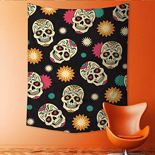 Auraisehome Tapestry Table Cover Bedspread Beach Towel Seamless with Sugar Skulls Dorm Decor 70W x 84L ()