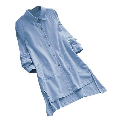 TUDUZ Damen Retro Beiläufige Lose Langarm Boho Minishirt Kleid mit Knopf Abendkleid Casualkleid Partykleid
