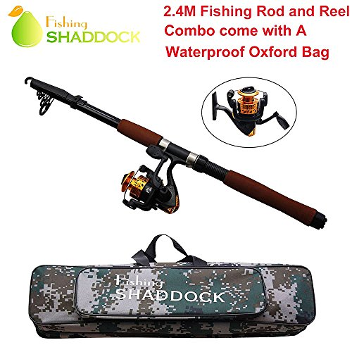 Shaddock Fishing 2.4M Lightweight Telescope Fishing Rod And Reel, Combo Package Saltwater Freshwater Kit (2.4M/7.64FT+JL200) (Pen Telescope Fishing Pole Combo)