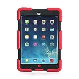 iPad Mini 1 2 3 Case ACEGUARDER Full Body Protective Premium Soft Silicone Cover Proof Case for iPad Mini 1 2 3 (Red Black)