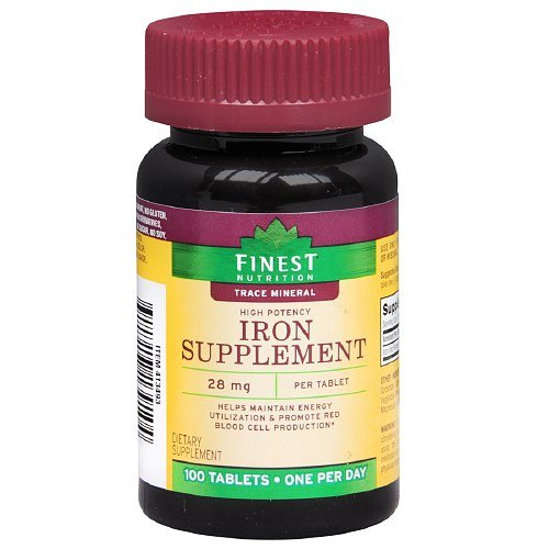 Finest Nutrition Iron Supplement 28mg, Tablets 100 (Prescription Iron Tablets)