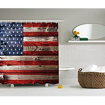 Amazon.com: American Flag Shower Curtain Decor by Ambesonne, Country ...