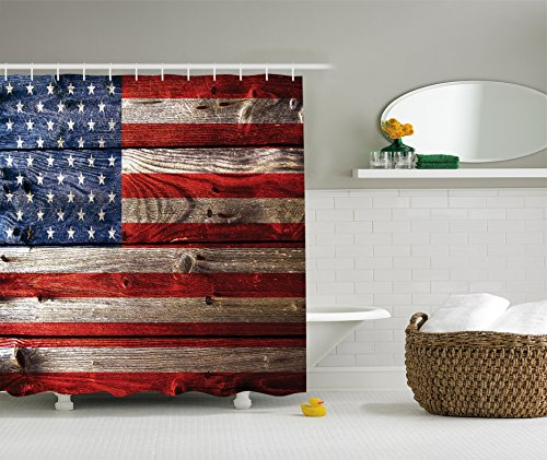 American Flag Shower Curtain Decor Country Emblem Painting on the Weathered Retro Wooden Shower Curtain Set with Hooks