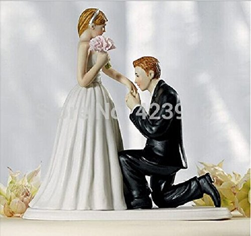 IntoU A Cinderella Moment Couple Porcelain Ceramic Bride And Groom Wedding Cake Topper Proposal Couple Photo Remember Romantic