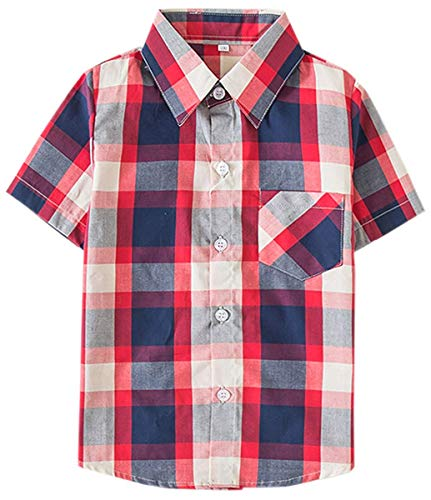 (Kids Short Sleeves Button Down Plaid Shirt Tops for Toddlers and Little Boys, Red Navy, Tag 150 for Age 8-9 Years)