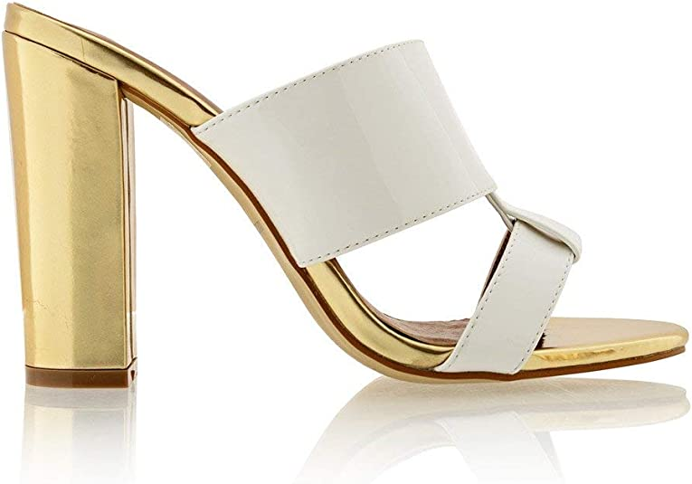 Timeless Amy White Gold Mules: Shoes
