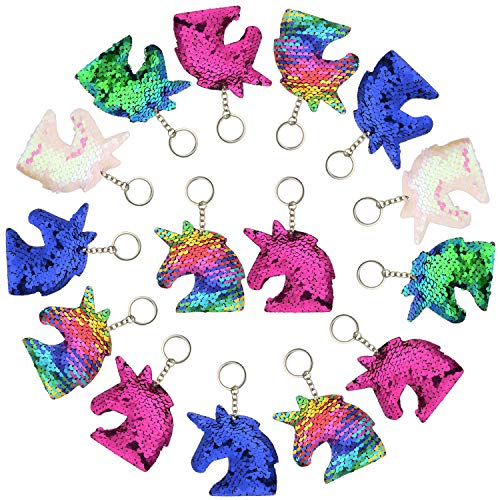 FEPITO 20 PCS Magic Reversible Mermaid Sequin Unicorn Keychains for Unicorn Party Favors, Unicorn Party Bags Filler Birthday Party Supplies Decoration for Girls Kids -