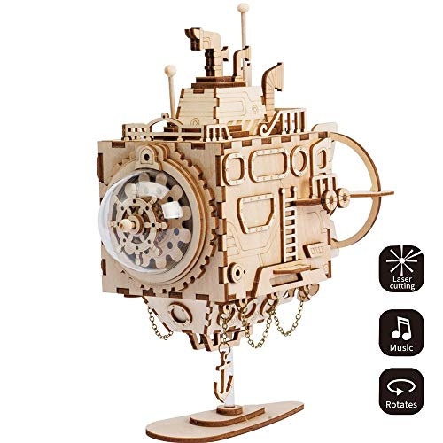 ILYO DIY 3D Laser Cut Wooden Puzzle Machine Submarine Music Box, Wooden Music Box Creative Boys and Girls Girlfriends Memorial Ceremony -