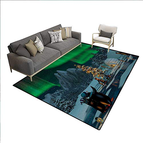 Northern Lights Rugs for Living Room Penguins on Frozen Lake with Christmas Tree Noel Arctic Circle Design Customize Area Rugs Lime Green Grey