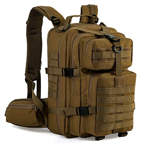 Bags Army Kit - Gelindo Military Tactical Backpack, Hydration Backpack, Army Molle Bag, Small Rucksack for Hunting, Survival, Camping, Trekking, 35L (Tan)