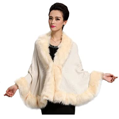 c7f36adf8fc5 Ladies Womens Faux Fur Trim Bat Cardigan Cape Poncho Cloak Shawl Coat (one  Size