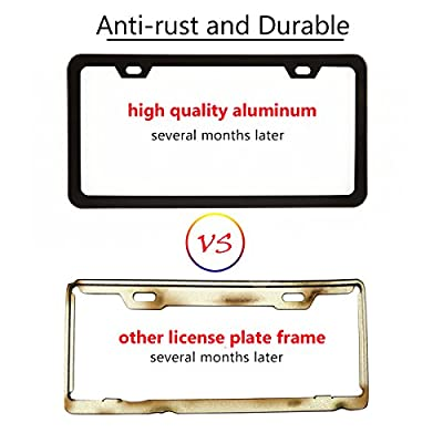 Simchoco License Plate Frame, Black License Plate Frame 2 Pcs 2 Holes Slim Border Matte Aluminum Frame with Chrome Screw Caps for US Vehicles: Automotive