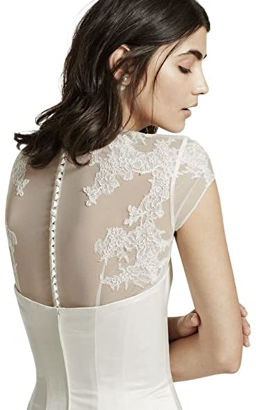 c67b83f399 David S Bridal Tulle Cap Sleeve Topper With Lace Detailing Style