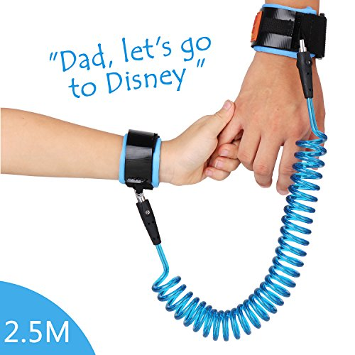 Wimaha Kids Anti Lost Wristband Skin Friendly Anti Pricking Cotton Wrist Straps 8FT for Toddlers (2.5m, Blue)
