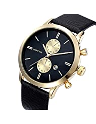 Changeshopping Fashion Men Casual Waterproof Date Leather Military Japan Watch Gift (Black Gold)